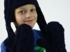 Modrá pletená super ušanka a palčáky