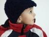 Pletená dětská čepička s kšiltíkem