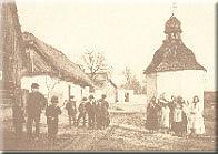 Olešná - náves s kapličkou r.1890